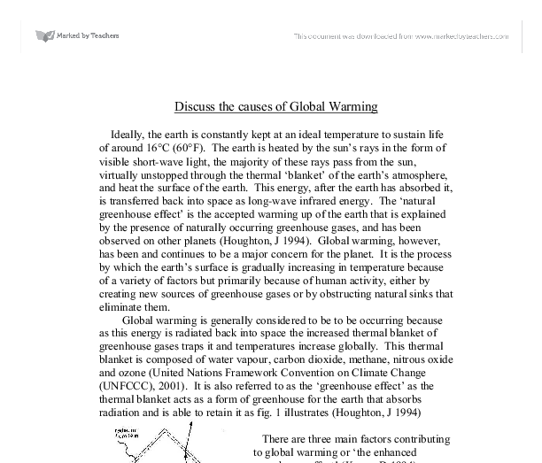 Sample essay on global warming