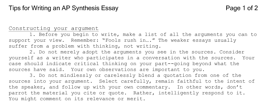 Help with write a essay synthesis